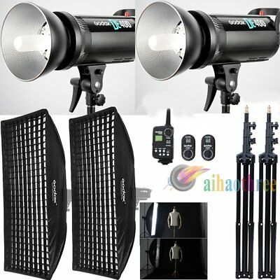 2Pcs Godox DE400 400W Studio Flash + 50x130cm Softbox with Grid + Trigger Stand