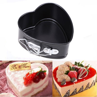 4'' Heart Shape Spring Form Non-Stick Cake Oven Tray Baking Pan Bakeware Mould