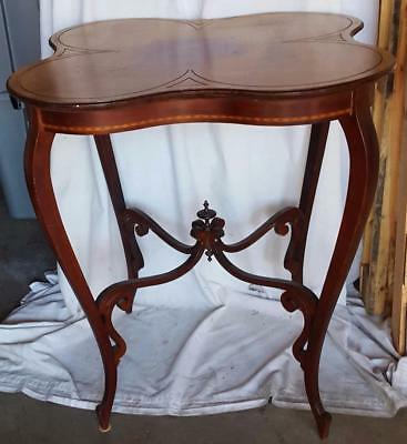 BEAUTIFUL Antique Edwardian Quatrefoil High Profile Bistro Table with Marquetry
