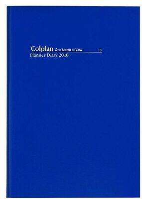 COLPLAN 2018 1 Year Planner Diary A4 Month to View MTV - NAVY BLUE-Free Postage!