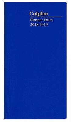 COLPLAN 2018 2019 2 Year Planner Diary B6/7 Month to View Pocket Slim MTV - BLUE