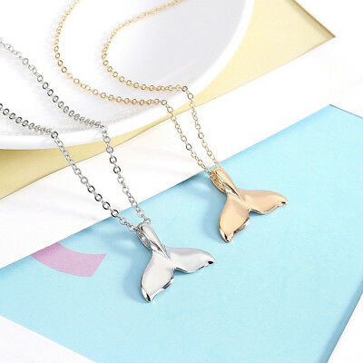Fashion Gold Silver Whale Tail Fish Nautical Charm Mermaid Tail Necklace Jewelry