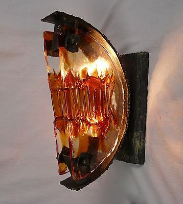 PAIR OF LARGE  VERY STYLISH BRUTALIST 70s WALL LIGHTS / SCONCES