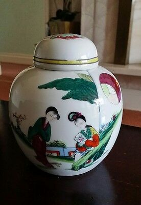 vintage chinese hand painted ginger jar with lid