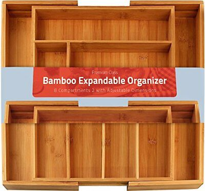 Bamboo Expandable Cutlery Tray - Drawer - Organizer 8 compartments