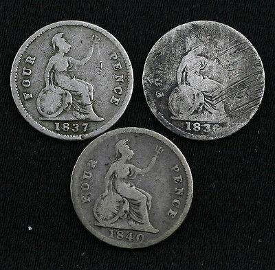 1836, 1837 & 1840 SILVER Four Pence Coins, Groats (LZ121)
