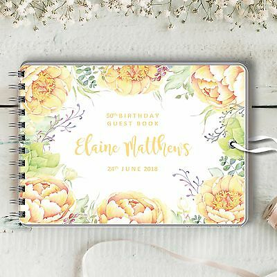 Personalised Birthday Guest Book, Yellow Peonies, Blank Message Book, 2 Sizes