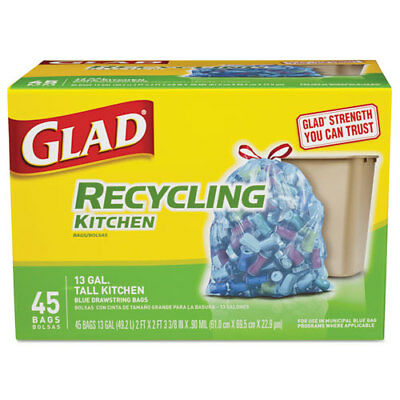 Tall Kitchen Blue Recycling Bags, Drawstring, 13 gal, 0.9 mil,45/Box,4 Bx/Crtn