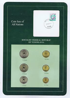Socialist Federal Republic Yugoslavia 6pc Mint BU Coin Sets of All Nations stamp