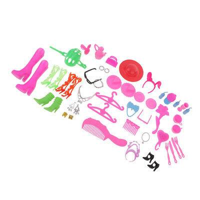 50Pcs Doll Accessories Shoes Bag Hangers Comb Earings for Barbie Dolls Gifts
