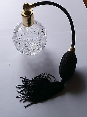 Beautiful Vintage crystal cut glass perfume atomiser  with black puffer.......
