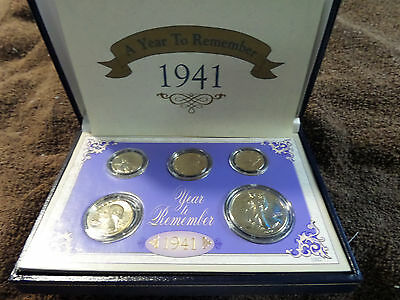 1941 5-Coin US Mint Silver Coin Set w/case and COA