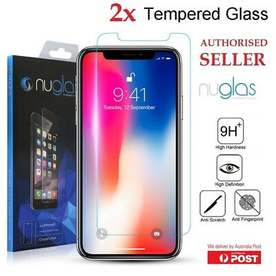 2x NUGLAS Tempered Glass Screen Protector for iPhone Xs Max XR 8 7 6 6s Plus 5