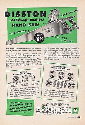 1956 Ad - DISSTON HAND SAW, HENRY DISSTON DIVISION, H.K. PORTER COMPANY