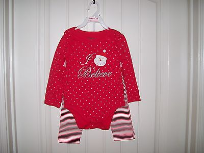 Wee Play Girls 2 Pc. Santa I Believe Christmas Body Suit & Legging Set Size 18M