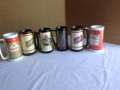 (6) Vintage Thermo-Serve Beer Themed Tall Mugs