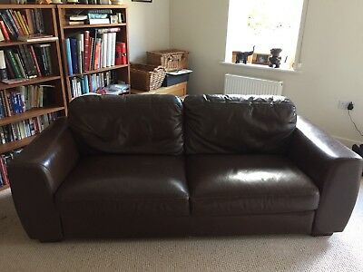 Pair Of Light Brown Leather Sofas PicClick UK