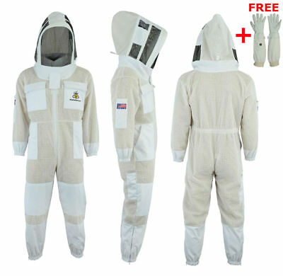 3 Layer beekeeping full suit hive vented ventilated jacket Astronaut veil