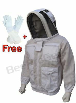 3 Layer beekeeping jacket bee outfit hat  ventilated protective Astronaut Veil