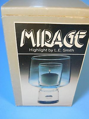 L.E. Smith blue Glass Candle Holder Hurricane Lamp Mirage New in Box 3525H USA