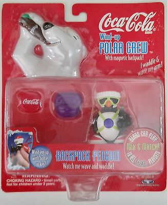 Vintage Coca-Cola Brand Wind-Up Polar Crew 1998 Penguin With Magnetic Backpack &