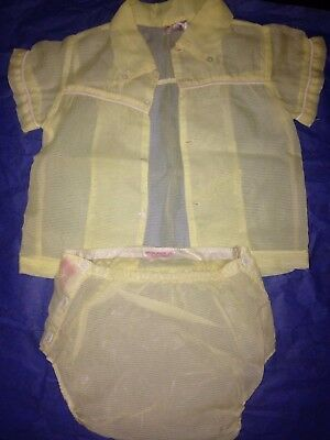 Orlon Nylon Baby Fashions Yellow Button Up Shirt And Diaper Cover Size L