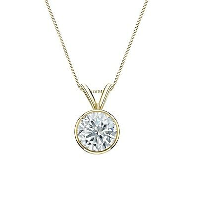 """2.50 Ct Round Cut Real 14k Yellow Gold Solitaire Bezel Pendant 18"""" Necklace"""