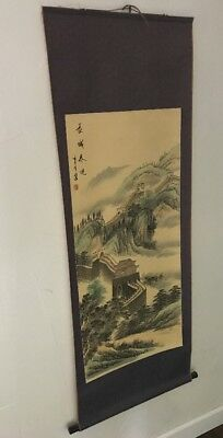 Asian Painted Scroll, Marked