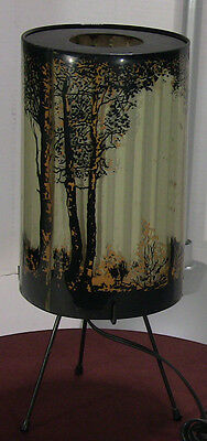 VINTAGE 1950s GOODMAN FOREST FIRE MOTION LAMP FOREST SILHOUETTE