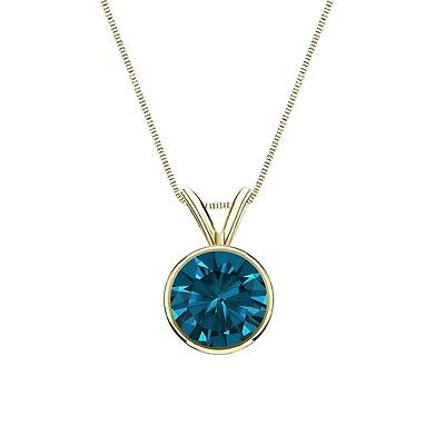 """3 Ct Round Cut Blue Real 14k Yellow Gold Solitaire Bezel Pendant 18"""" Necklace"""