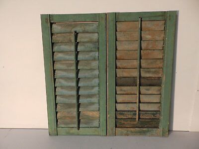 Pair Antique Small Window Wood Louvered Shutters Shabby Vtg Chic 24x13 441-17P