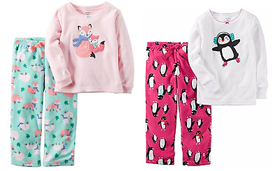 New Carters Girl's 2 Piece Flannel Pajamas Shirt and Pant Sleepwear- VARIETY