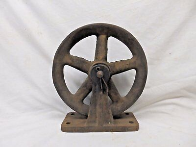 Antique Industrial Theatre Stage Curtain Cast Iron Pulley Steampunk Vtg 445-17P