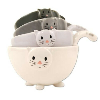 CAT Kitten MEASURING Cups Bowls for Baking COOKING Black White Grey, Ceramic