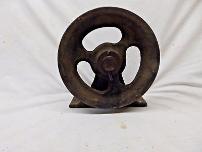 Antique Industrial Theater Stage Curtain Cast Iron Pulley Steampunk Vtg 446-17P