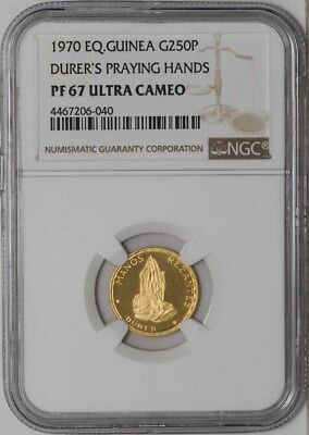 1970 EQ Guinea Gold 250P Durer's Praying Hands PF67 Ultra Cameo NGC