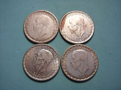 (4) Kroners Sweden Silver Coin Lot.