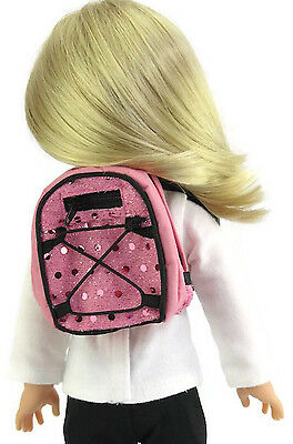 """Pink Backpack with Sequins for 14.5"""" American Girl Wellie Wishers Doll Clothes"""