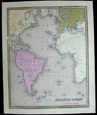 Atlantic Ocean North South America Africa Europe world 1841 Boynton antique map