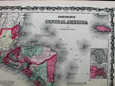 Central America Panama Nicaragua Costa Rica c.1865 Johnson & Ward antique map