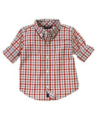 NWT 12-18 Months Gymboree PLAY BALL Plaid Button Front Woven L/S Shirt Top