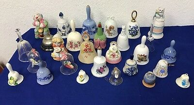 Lot of 28 Handbell Collection Mixed Flowers Currier & Ives +more Hand Bells
