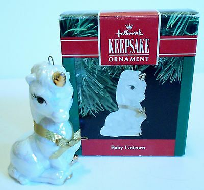 "1990 Hallmark Keepsake Ornament ""Baby Unicorn"" Porcelain MIB"