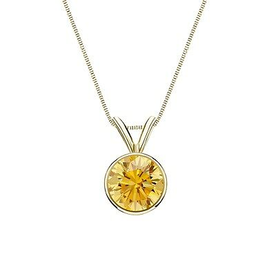 """2 Ct Round Cut Canary Real 14k Yellow Gold Solitaire Bezel Pendant 18"""" Necklace"""