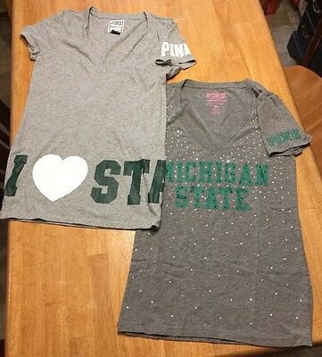 2-VICTORIA'S SECRET PINK Women's Medium COLLEGE/STATE FOOTBALL-T-SHIRTS-NWOTS