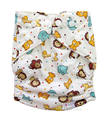 Modern Cloth Reusable Nappy Diaper & Insert, Cute Wild Animal