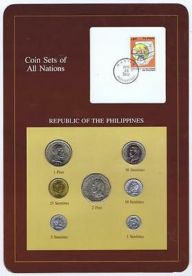 Republic of Philippines 6 pc Mint set 1983-87 BU Coin Sets of All Nations stamp