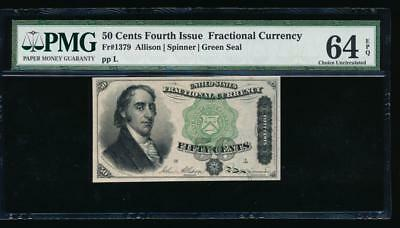 AC Fr 1379 $0.50 1869 fractional 4th issue PMG 64 EPQ Dexter