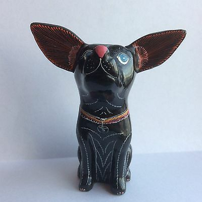 Handmade Lacquerware Chihuahua Dog Thai-Style Black Lacquer By Artist Linda Tong
