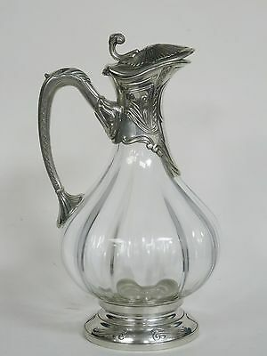 Silverplate Etains Du Manoir Glass Claret Jug Decanter ~ 10""
